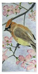A Waxwing In The Dogwood Hand Towel