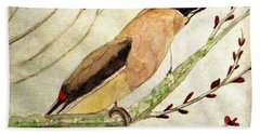 A Waxwing In The Orchard Hand Towel
