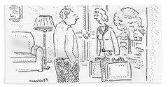 A Wife Is Talking To Her Husband With The Door Hand Towel