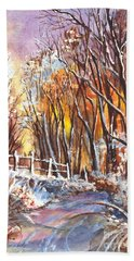 Bath Towel featuring the painting A Firey Winter Sunset by Carol Wisniewski