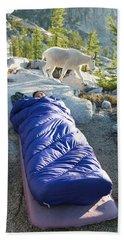 A Woman Asleep In Her Sleeping Bag Bath Towel