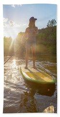 A Woman Paddleboarding On Animas River Bath Towel