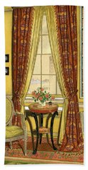 A Yellow Library With A Vase Of Flowers Bath Towel