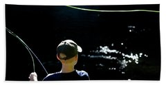 A Young Boy Fly Fishes At Gunpowder Hand Towel
