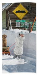 A Young Girl Hauls Her Dog In A Sled Hand Towel