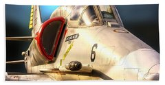 A4 Skyhawk Attack Jet Bath Towel by Thomas Woolworth