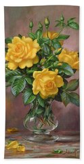 Radiant Yellow Roses Hand Towel