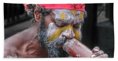 Aboriginal Playing Didgeridoo Bath Towel