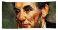 Abraham Lincoln - Abstract Realism Hand Towel