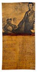 Abraham Lincoln The Gettysburg Address Bath Towel by Saundra Myles