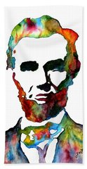 Abraham Lincoln Original Watercolor  Bath Towel by Georgeta  Blanaru