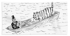 Abraham Lincoln With Tiger In Boat Bath Towel
