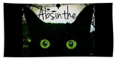 Bath Towel featuring the digital art Absinthe Black Cat by Absinthe Art By Michelle LeAnn Scott