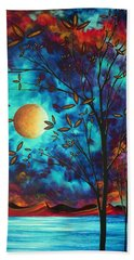 Abstract Art Landscape Tree Blossoms Sea Moon Painting Visionary Delight By Madart Hand Towel