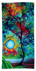 Abstract Art Landscape Tree Blossoms Sea Painting Under The Light Of The Moon I  By Madart Hand Towel