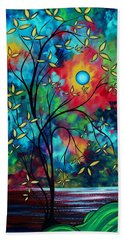 Abstract Art Landscape Tree Blossoms Sea Painting Under The Light Of The Moon II By Madart Hand Towel