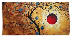 Abstract Art Landscape Tree Metallic Gold Texture Painting Free As The Wind By Madart Hand Towel