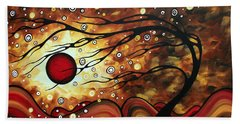 Abstract Art Original Circle Painting Flaming Desire By Madart Hand Towel