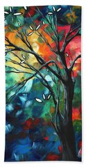 Abstract Art Original Colorful Painting Spring Blossoms By Madart Hand Towel