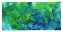 Abstract Art Original Textured Soothing Painting Sea Of Whimsy I By Madart Hand Towel