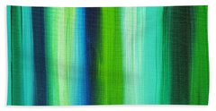 Abstract Art Original Textured Soothing Painting Sea Of Whimsy Stripes I By Madart Hand Towel