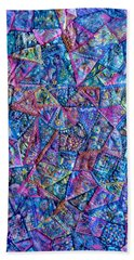Abstract Blue Rose Quilt Bath Towel