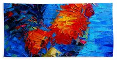 Abstract Colorful Gallic Rooster Bath Towel