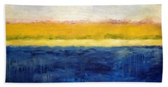 Abstract Dunes With Blue And Gold Bath Towel by Michelle Calkins