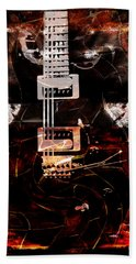 Abstract Guitar Into Metal Bath Towel