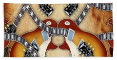 Abstract Guitar Maze Hand Towel by Marvin Blaine
