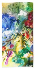 Abstract Horses Bath Towel