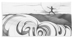 Abstract Landscape Art Black And White Yoga Zen Pose Between The Lines By Romi Hand Towel