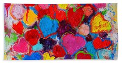 Abstract Love Bouquet Of Colorful Hearts And Flowers Bath Towel