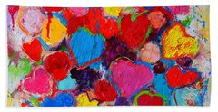 Abstract Love Bouquet Of Colorful Hearts And Flowers Hand Towel