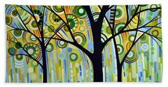 Bath Towel featuring the painting Abstract Modern Tree Landscape Spring Rain By Amy Giacomelli by Amy Giacomelli