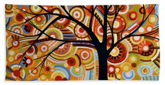 Bath Towel featuring the painting Abstract Modern Tree Landscape Thoughts Of Autumn By Amy Giacomelli by Amy Giacomelli