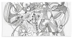 Abstract Pen Drawing Thirty-eight Bath Towel