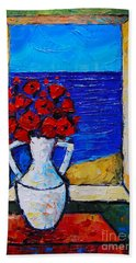 Abstract Poppies By The Sea Hand Towel