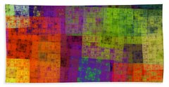 Abstract - Rainbow Bliss - Fractal - Square Hand Towel by Andee Design