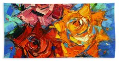 Abstract Roses On Blue Hand Towel