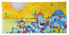 Abstract Santorini - Oia Before Sunset Bath Towel