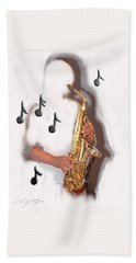 Abstract Saxophone Player Bath Towel by Tom Conway