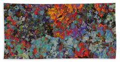 Bath Towel featuring the mixed media Abstract Spring by Ally  White