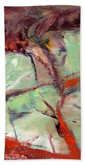 Abstract With Cadmium Red Bath Towel by Betty Pieper