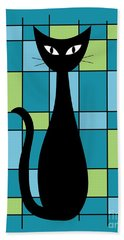 Abstract With Cat In Teal Hand Towel