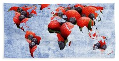 Abstract World Map - Berries And Cream - Blue Bath Towel by Andee Design