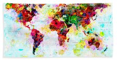 Abstract World Map Bath Towel