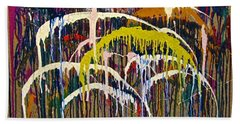 Abstracts 14 - Downtown With Umbrellas Hand Towel