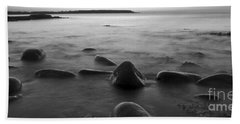 Acadia National Park Shoreline Sunrise Wakeup Black And White Hand Towel