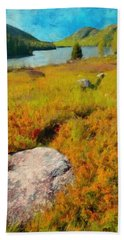 Hand Towel featuring the painting Acadia Spring by Jeff Kolker
